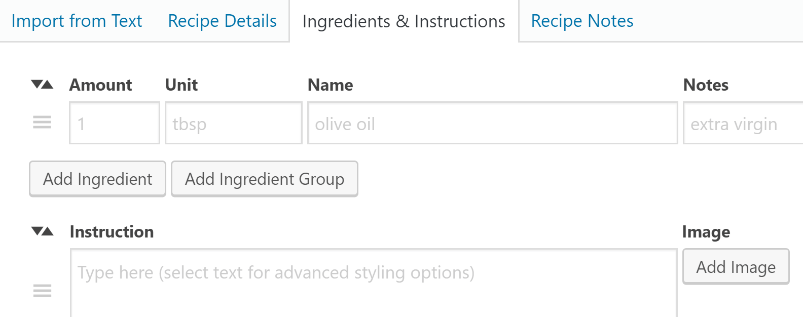 Adding instructions and ingredients to your new recipe.