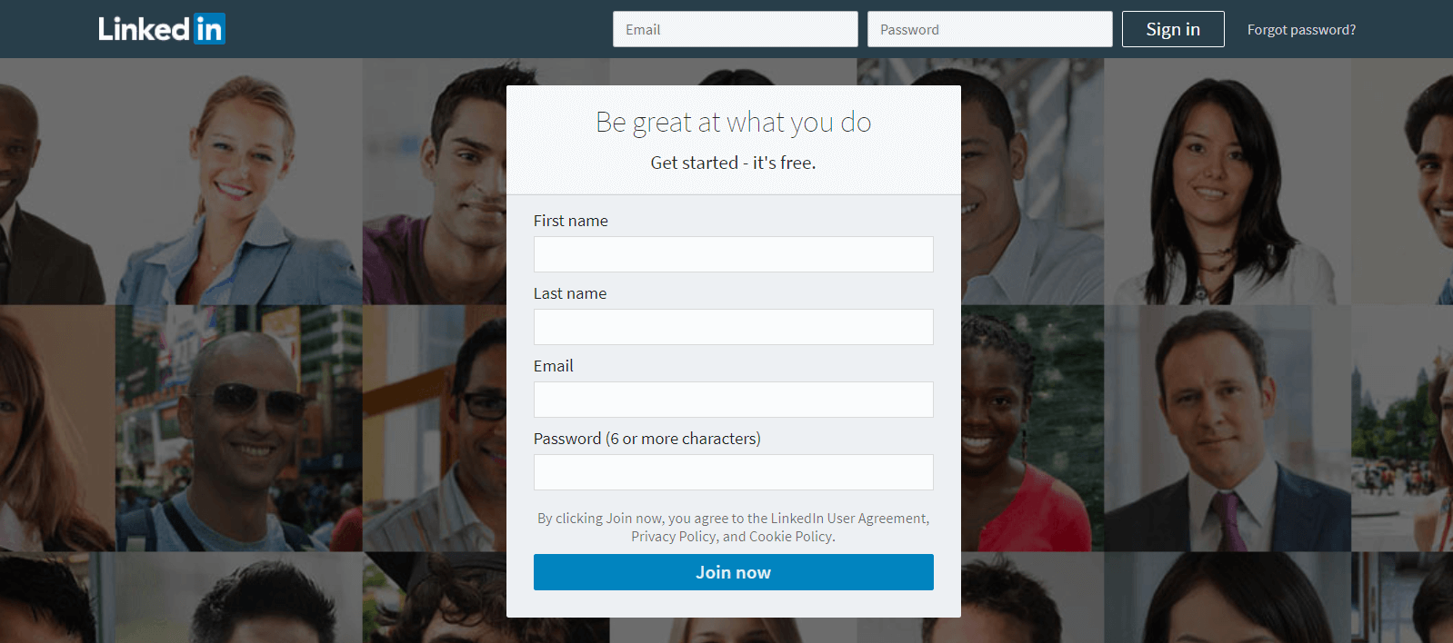 The LinkedIn homepage.