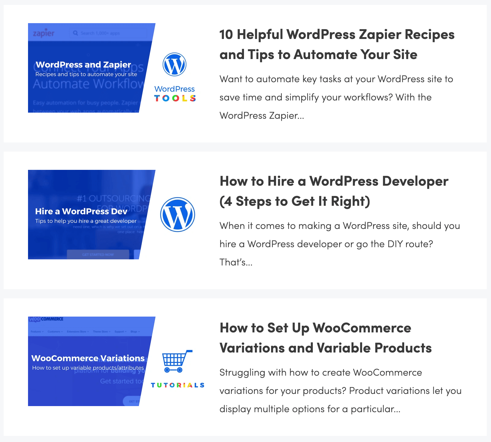 Some of the blog post titles from ThemeIsle