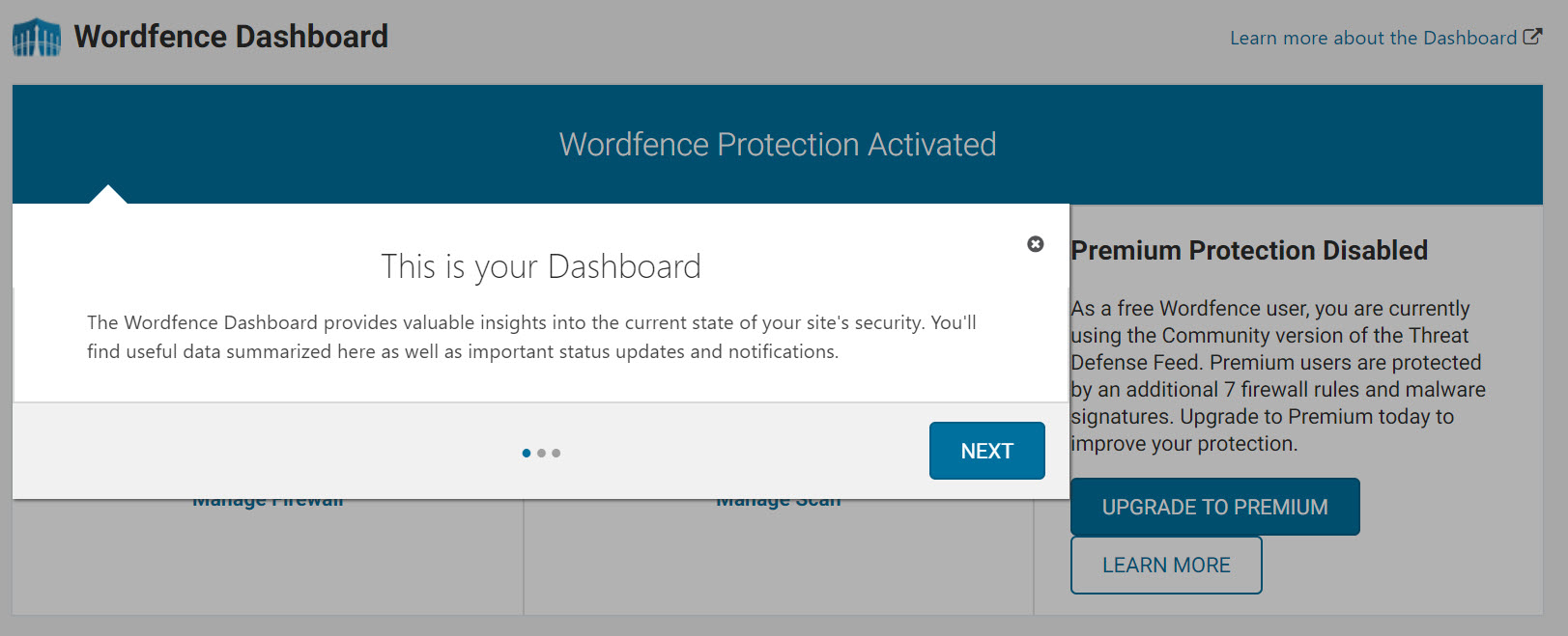 Wordfence Dashboard