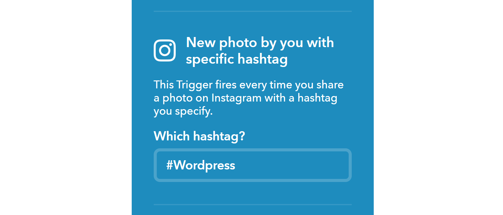 Choosing what Instagram hashtag to use in an IFTTT app.