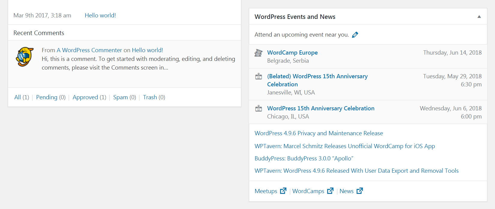 The WordPress Events and News widget.