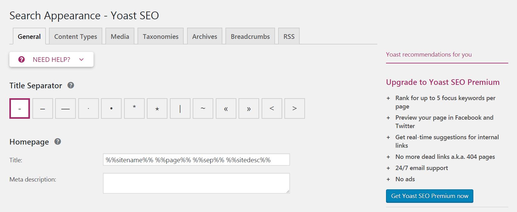 The Yoast SEO settings screen.