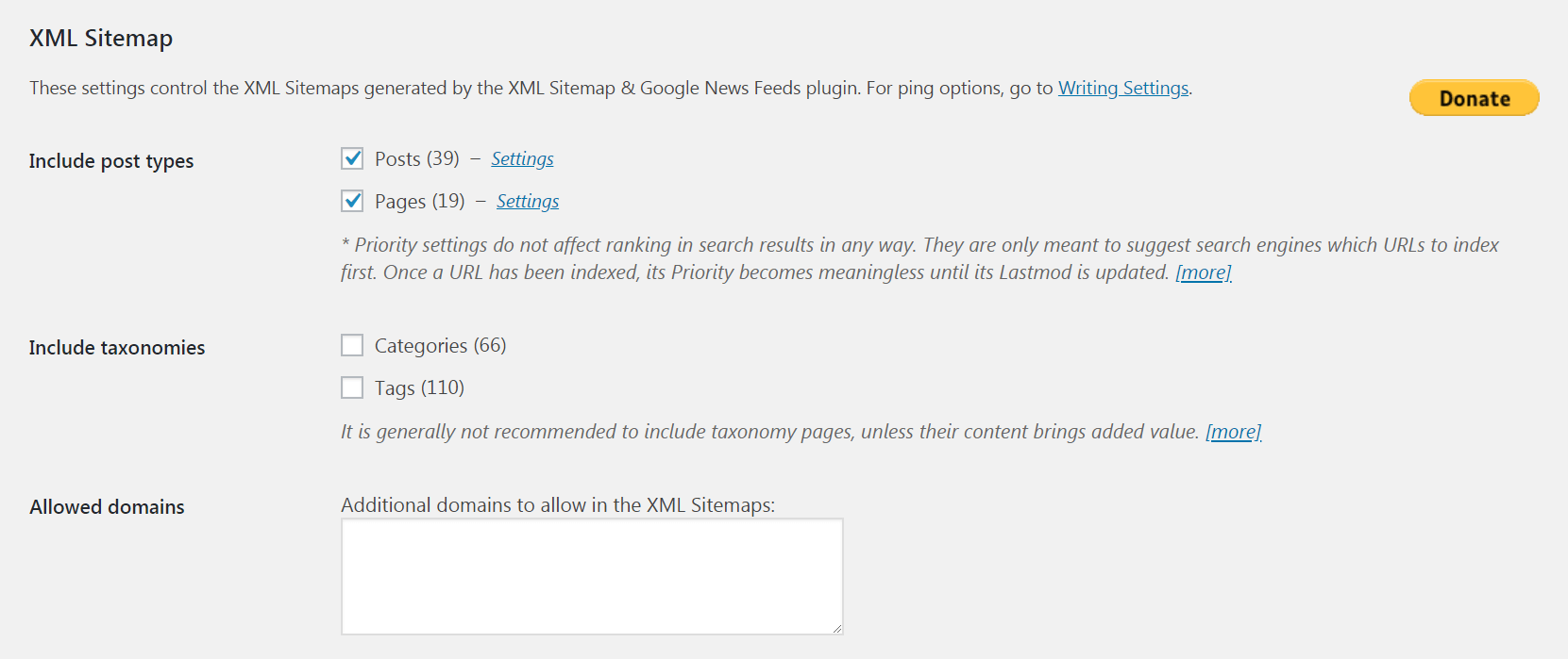 The advanced settings in XML Sitemap & Google News Feeds.