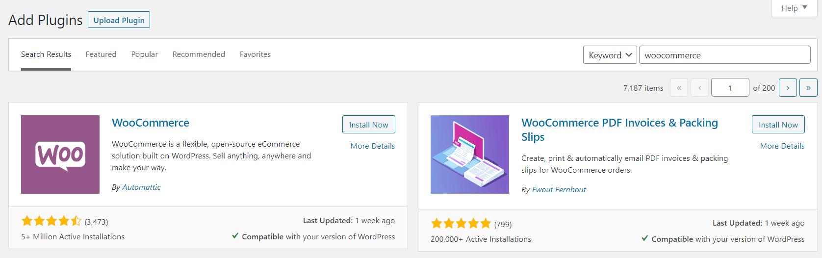 Installation du plugin WooCommerce.