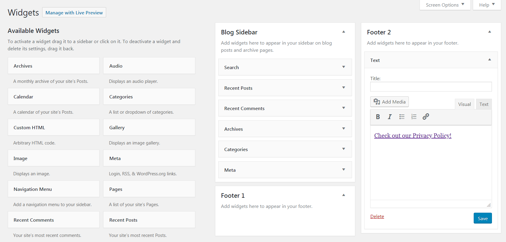 Adding a WordPress privacy policy to your site with a widget.