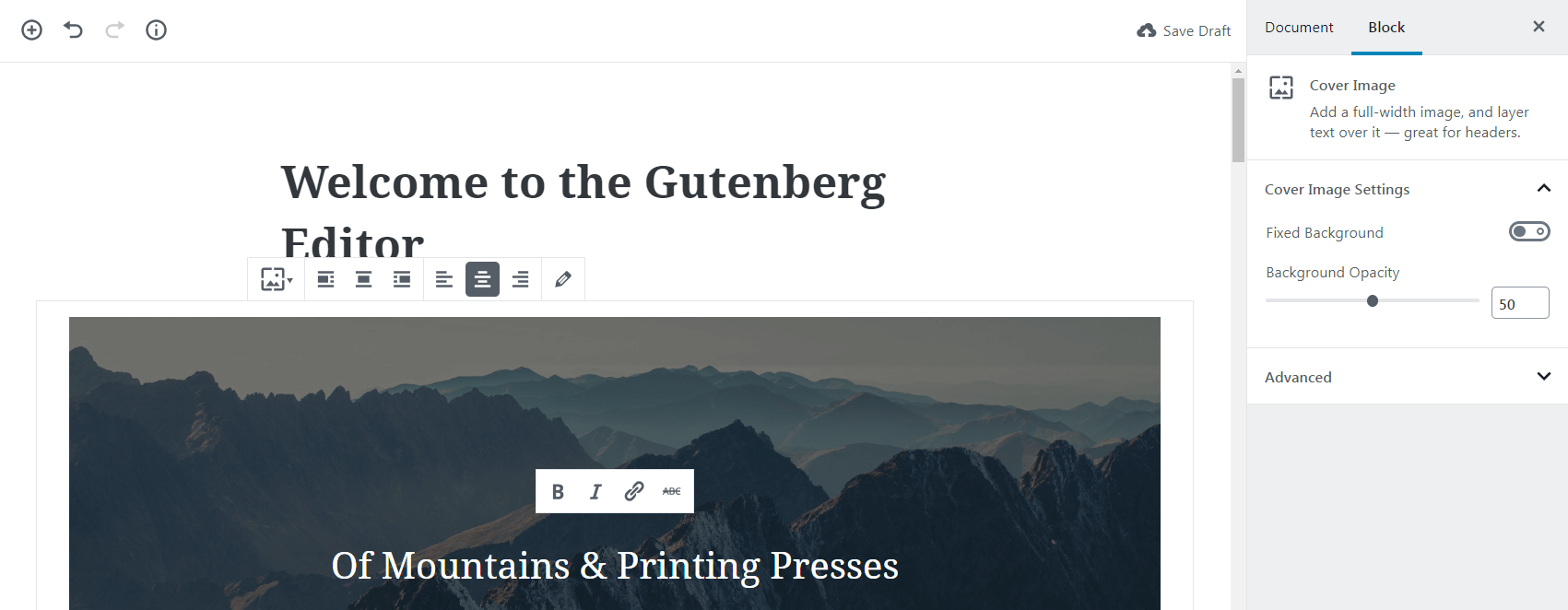 Gutenberg image block settings.