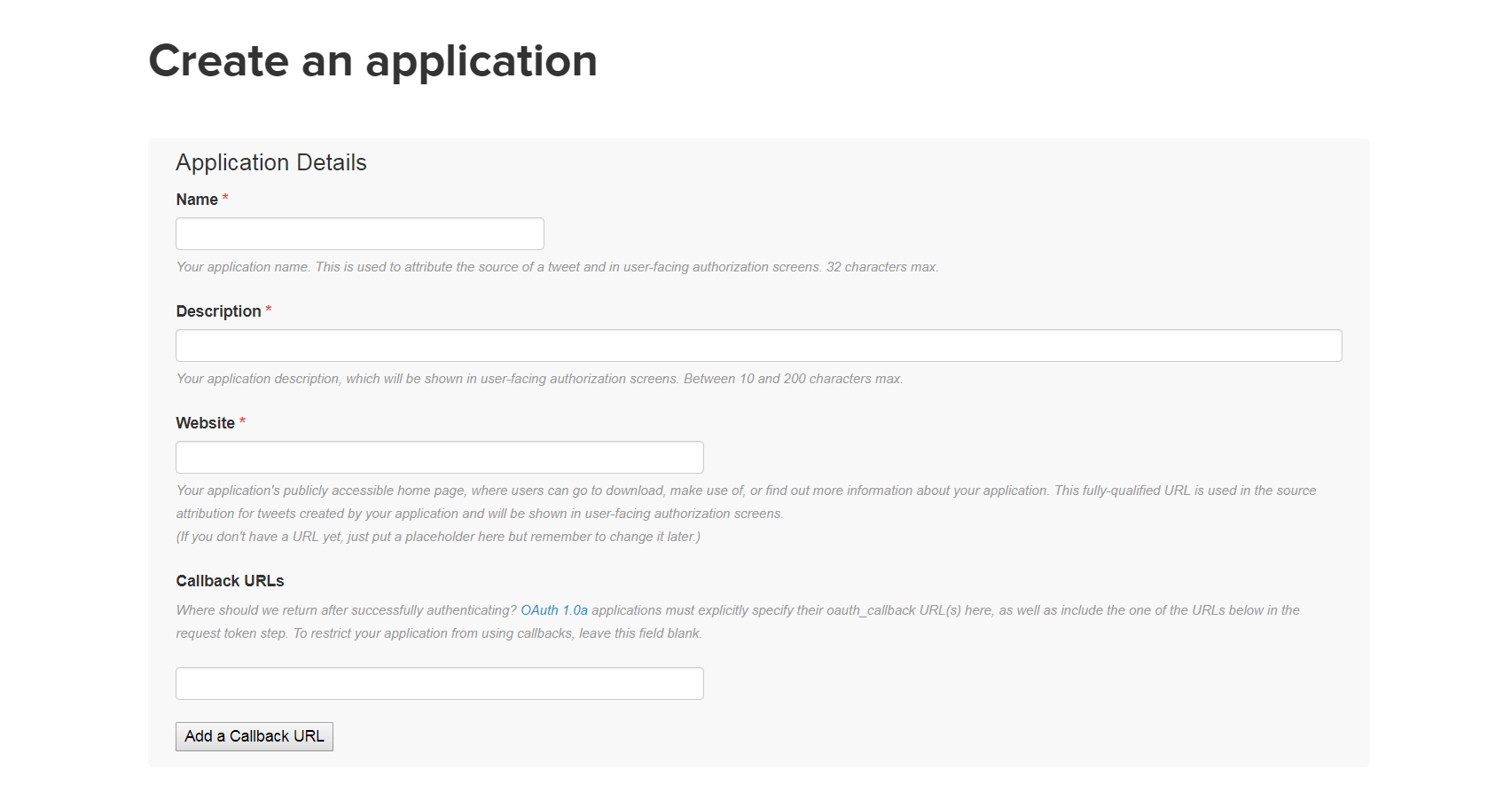 The Twitter Application Management page.