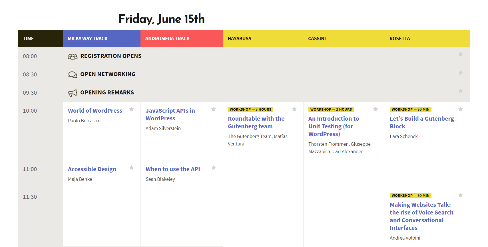 A WordCamp schedule.
