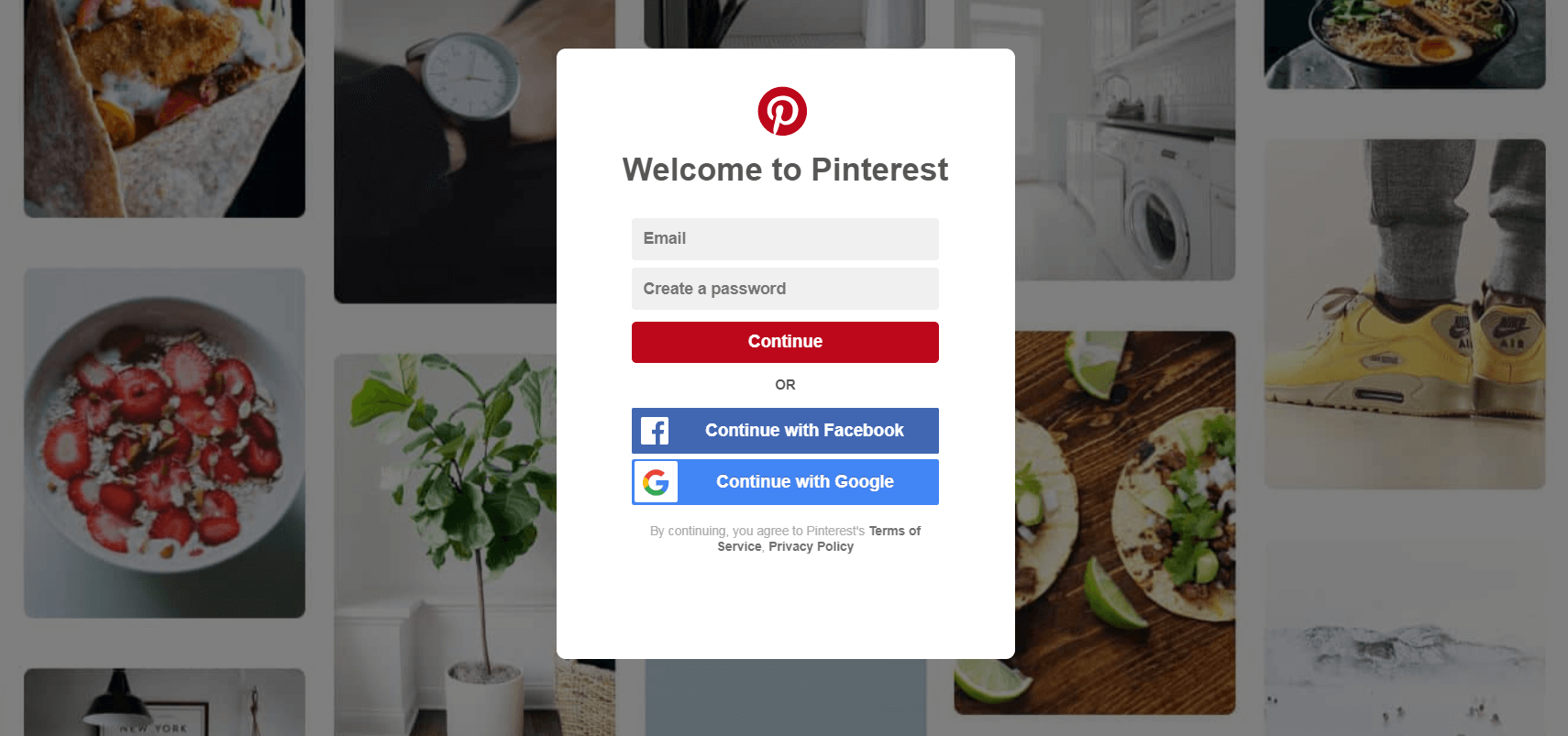 The Pinterest homepage.