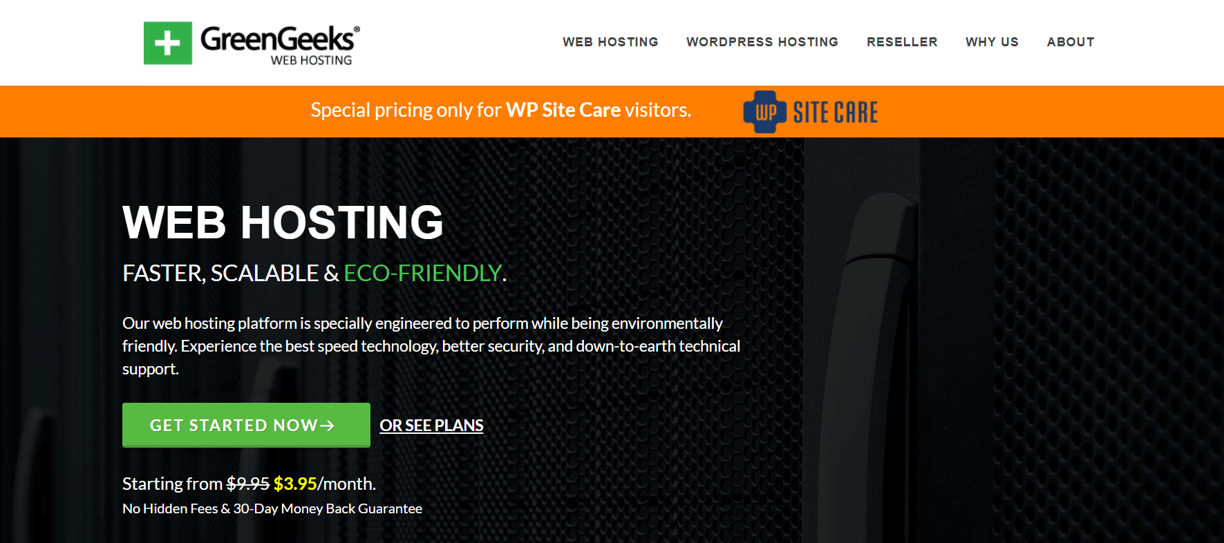 The GreenGeeks website home page.