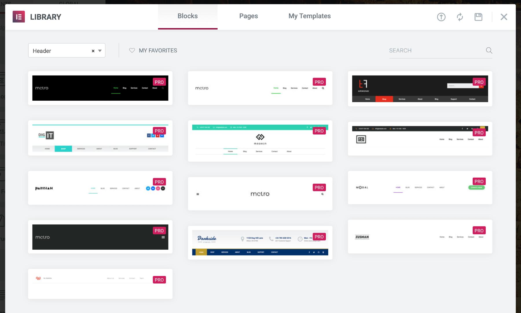 header templates