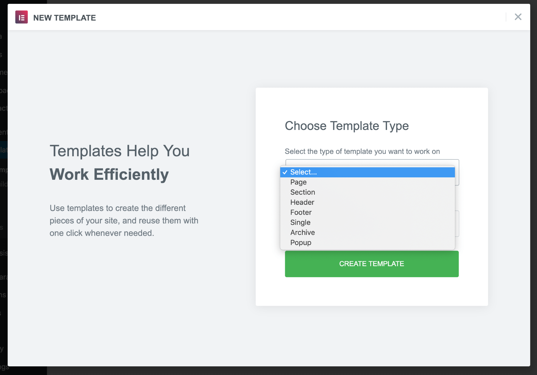 select template to create custom headers & footers with Elementor