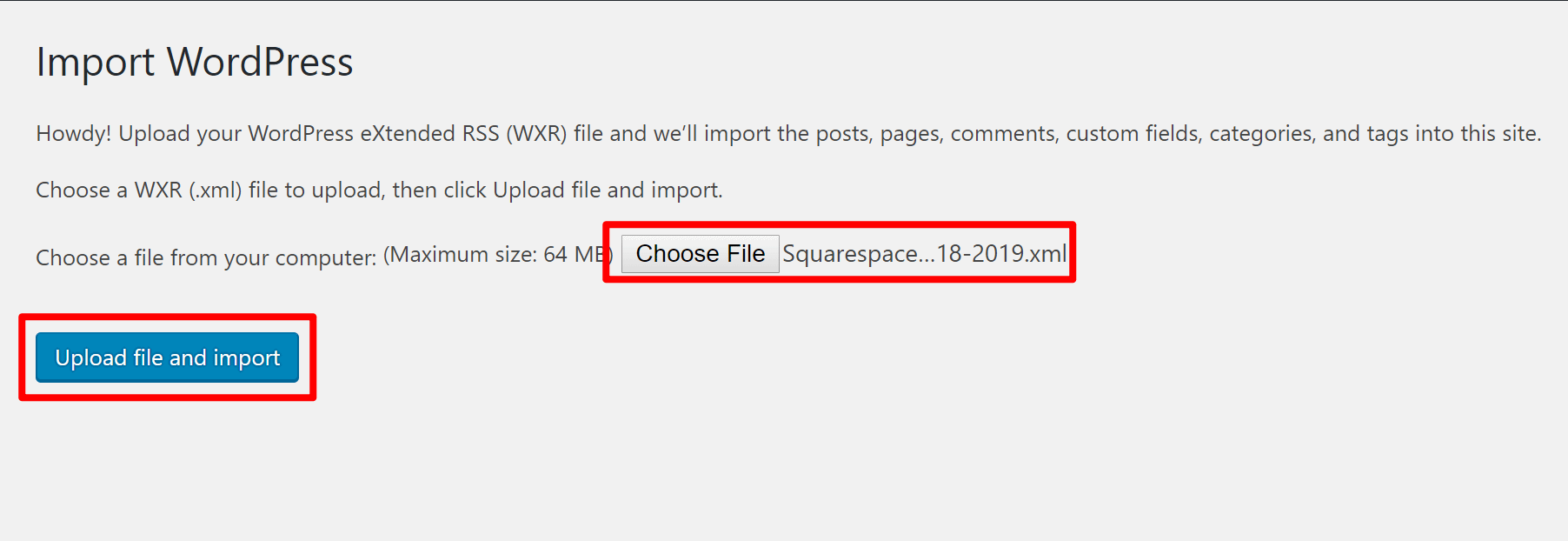 Choose Squarespace export file for WordPress