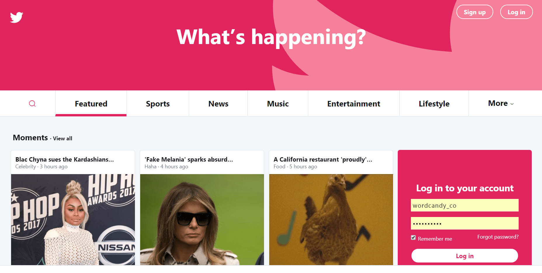 The Twitter homepage.