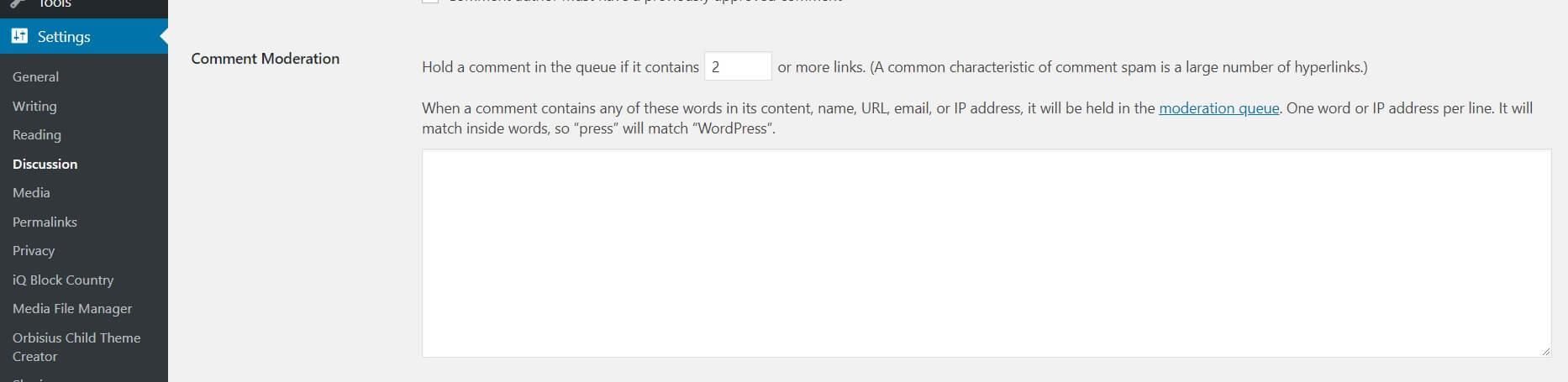 WordPress' Comment Moderation settings