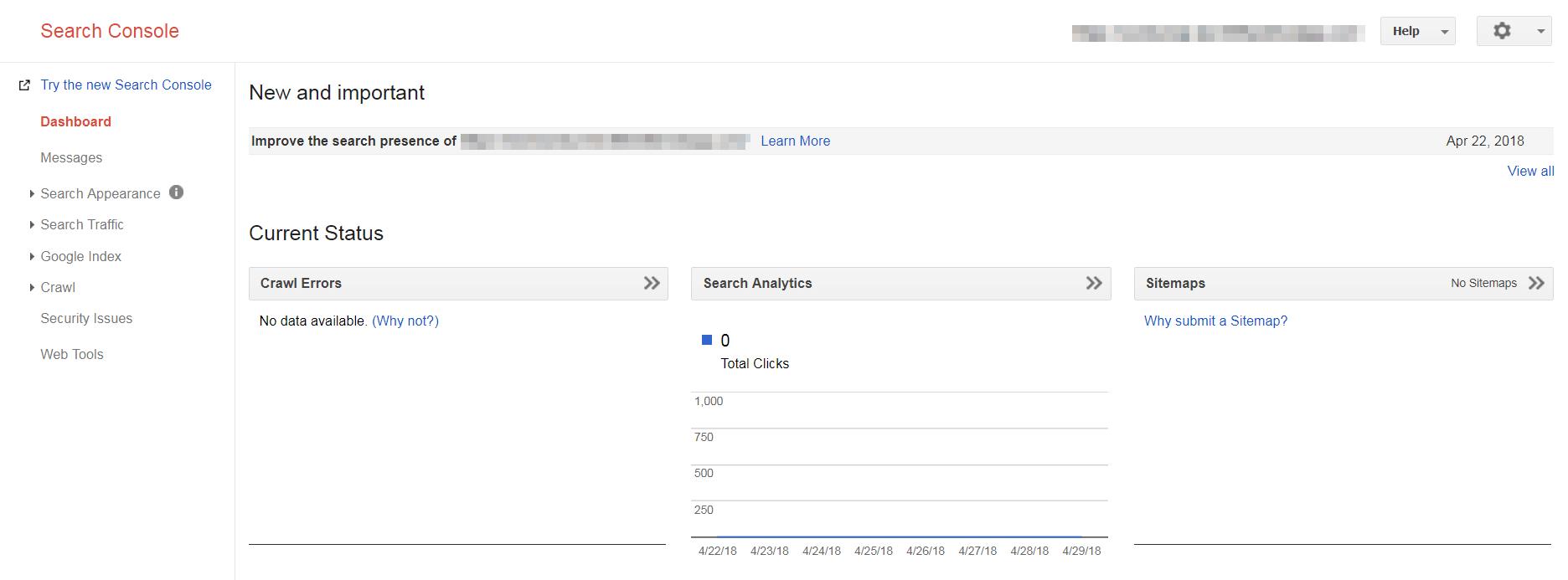 The Google Search Console main dashboard.