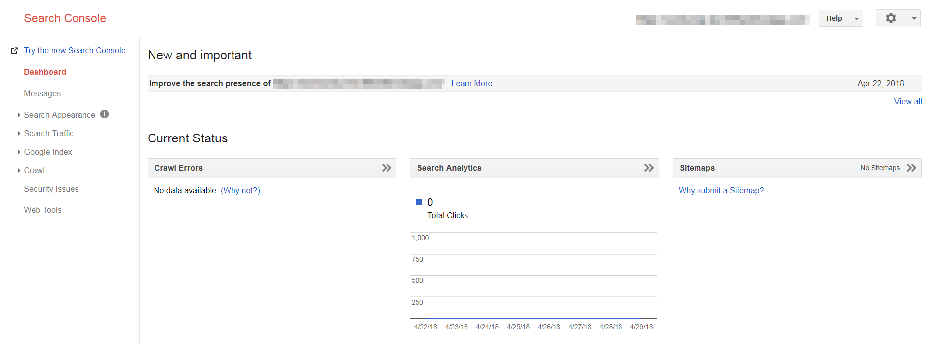 The Google Search Console main dashboard.