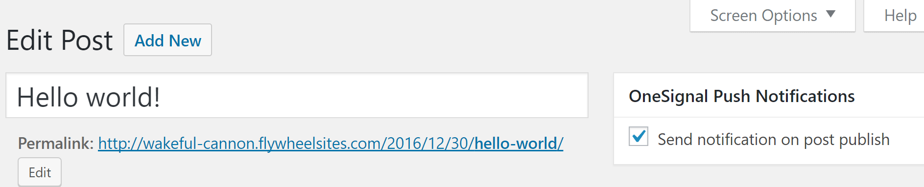 The option to enable notifications, next to the WordPress editor.