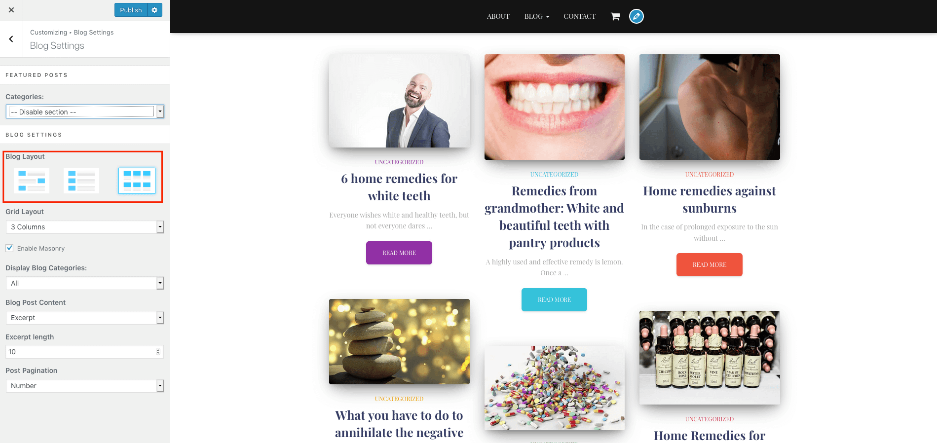 Hestia Pro has a good range of options for your blog layout