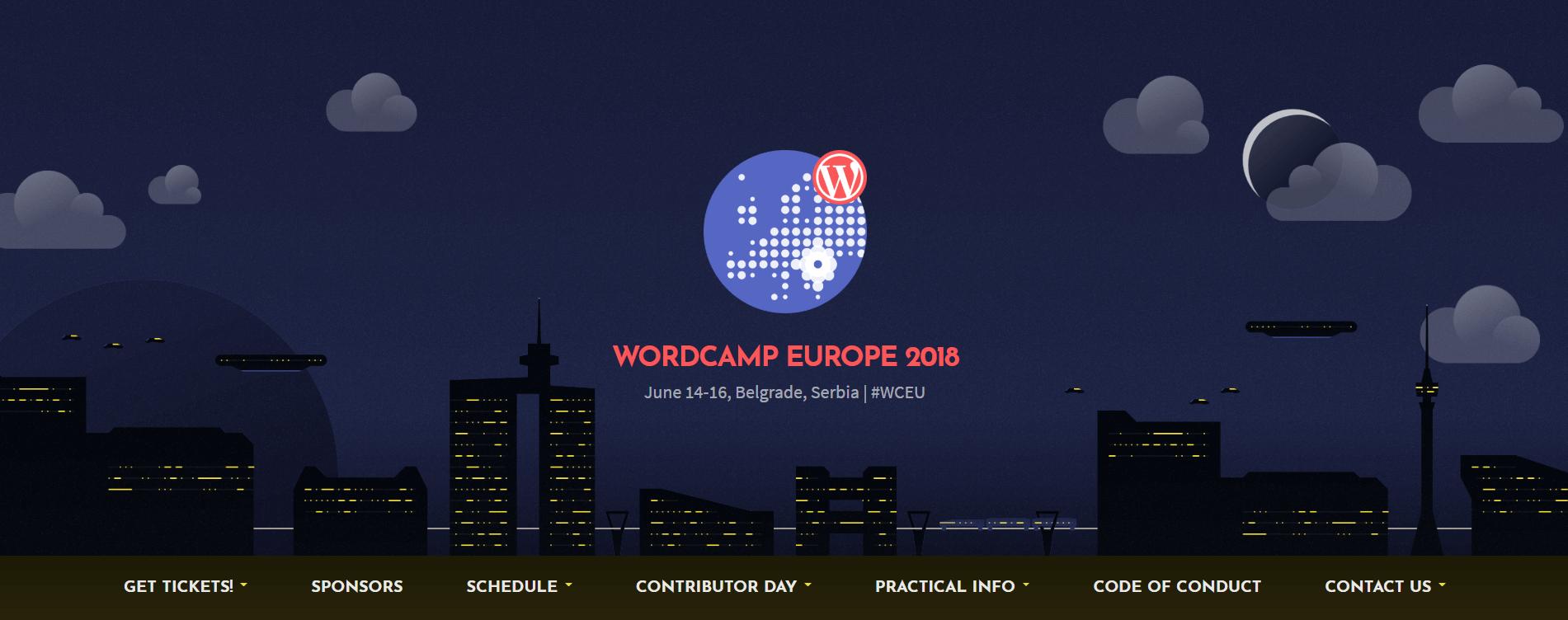 The WordCamp Europe 2018 website.