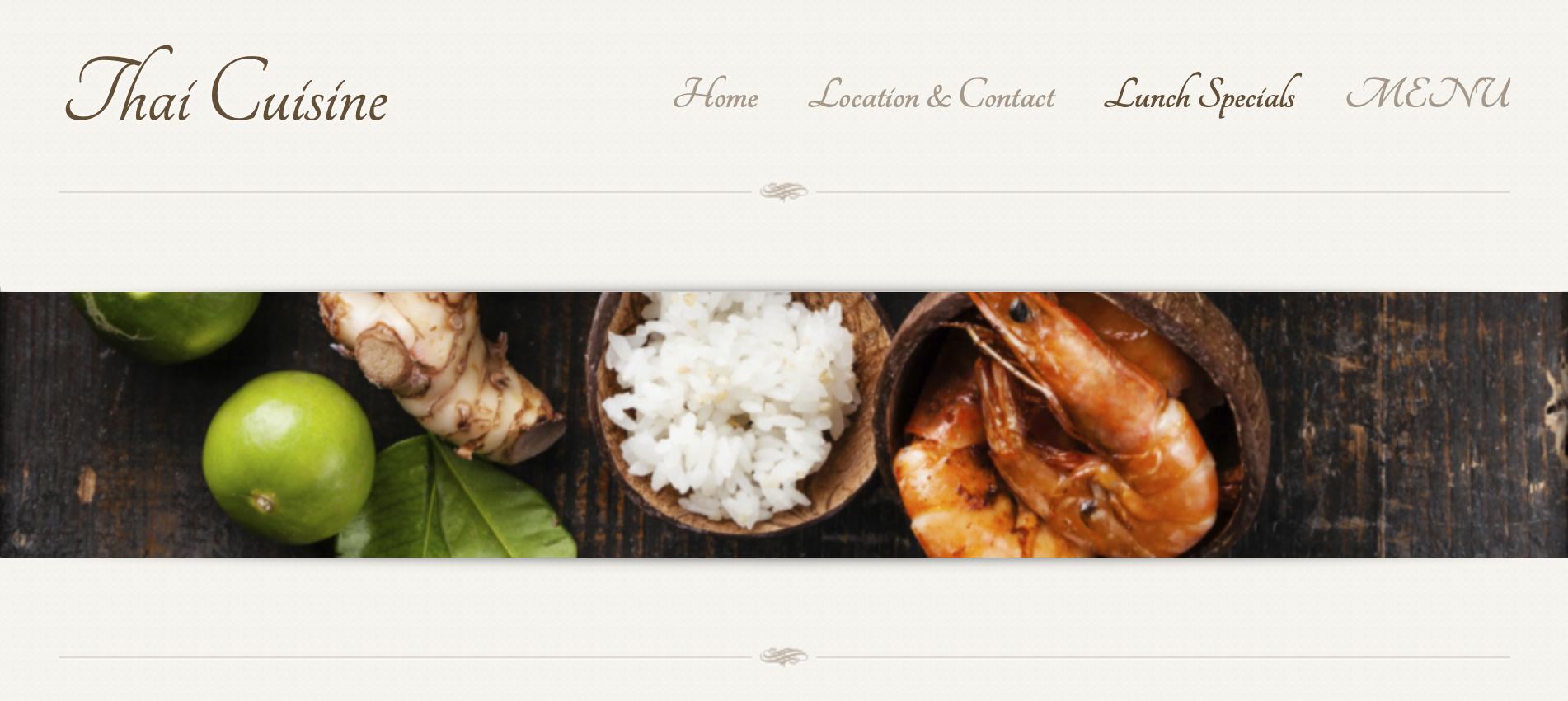 The Thai Cuisine restaurant website.