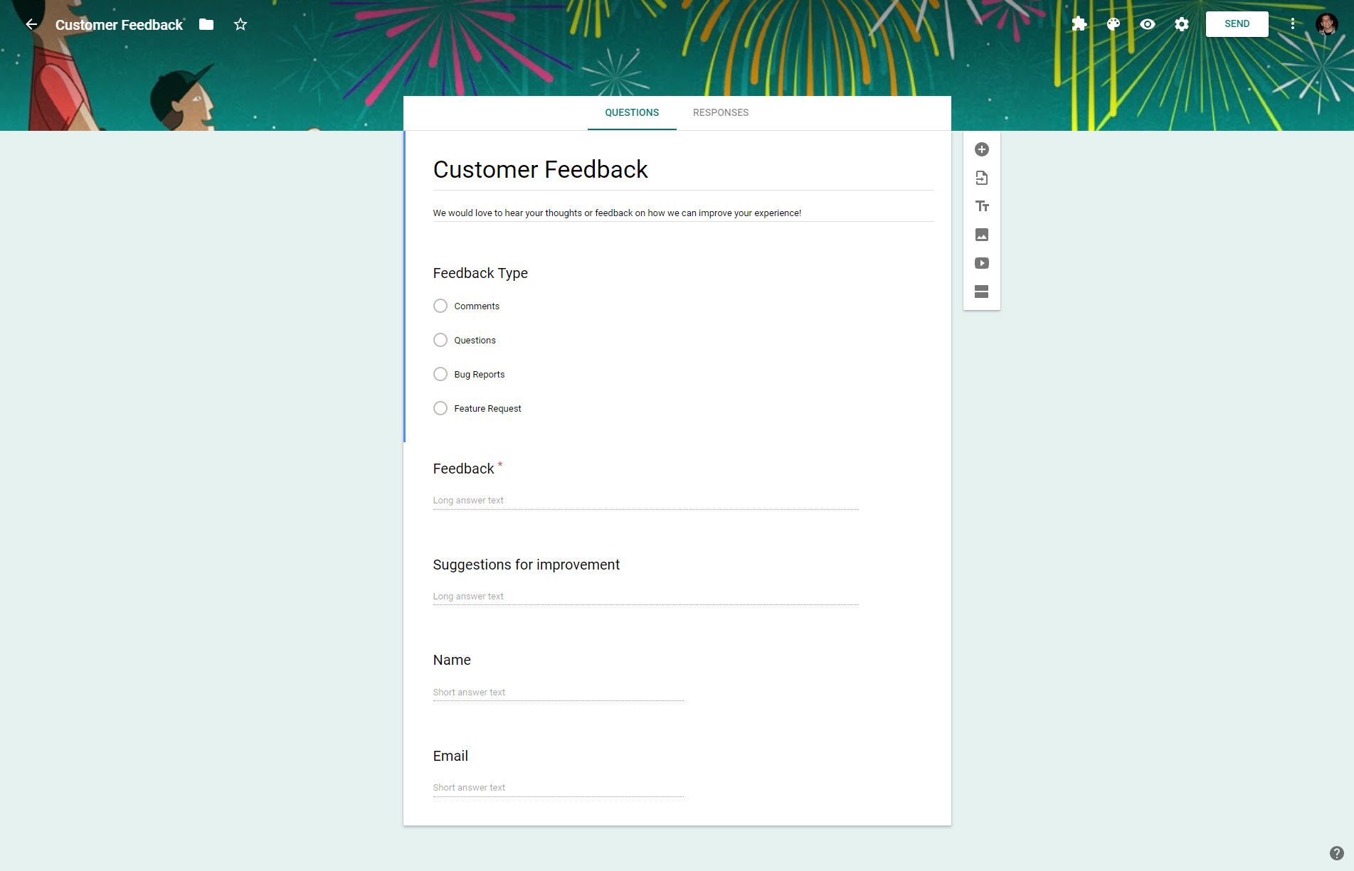 The default customer feedback template