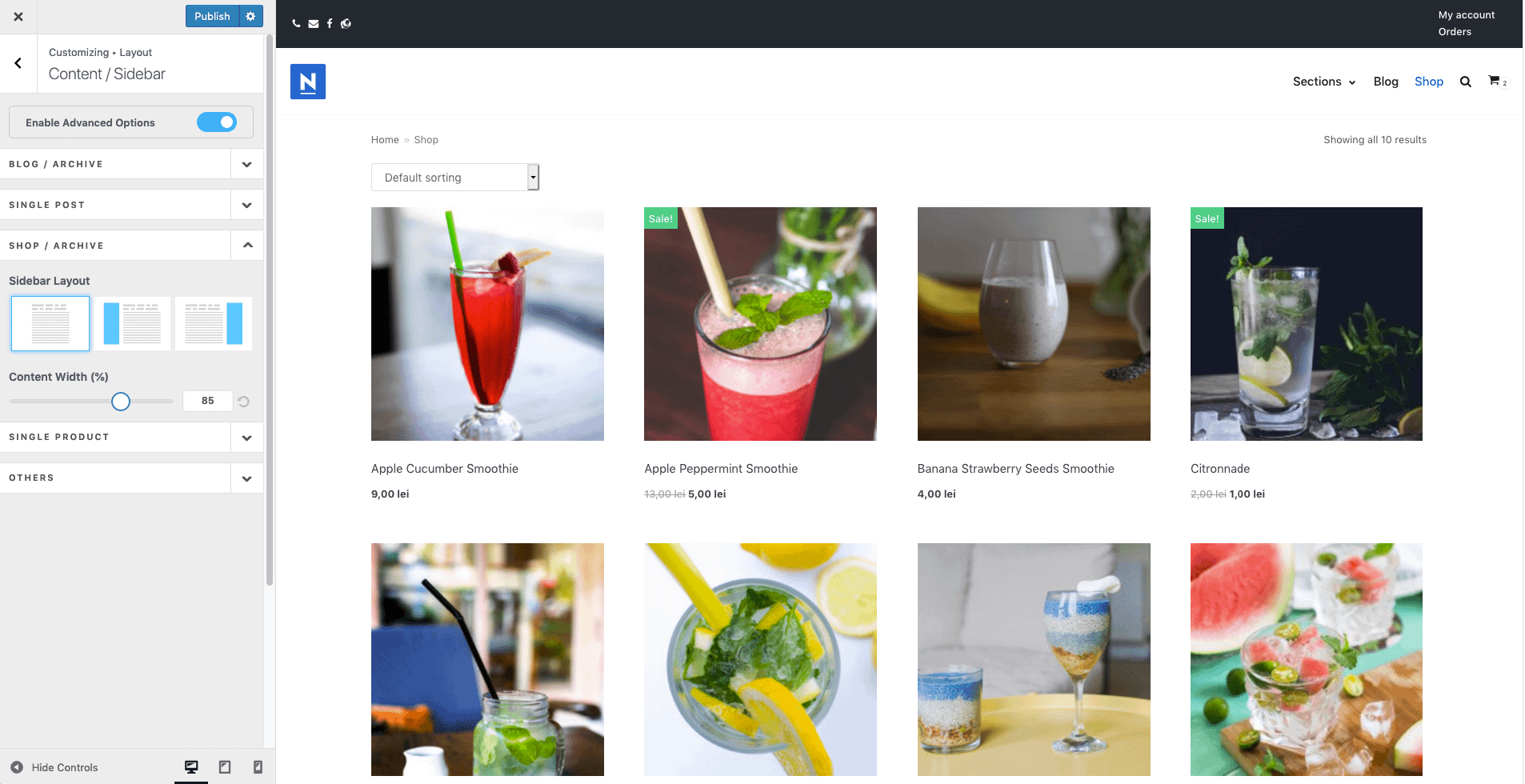 Experiment with the shop layouts to improve your conversions