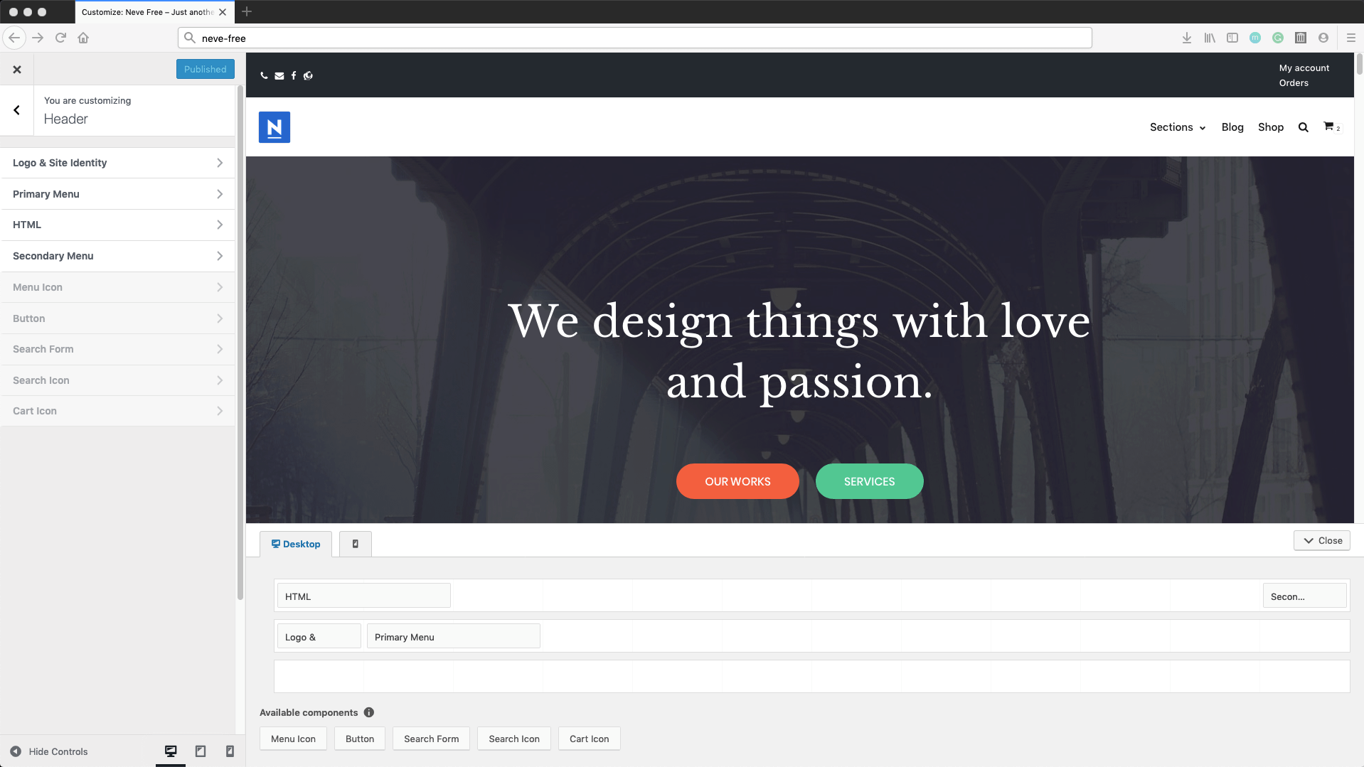 The simple Neve drag and drop Header Builder in the WordPress customizer