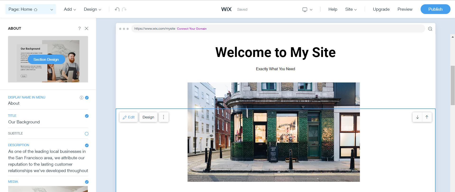 Wix ADI website editor
