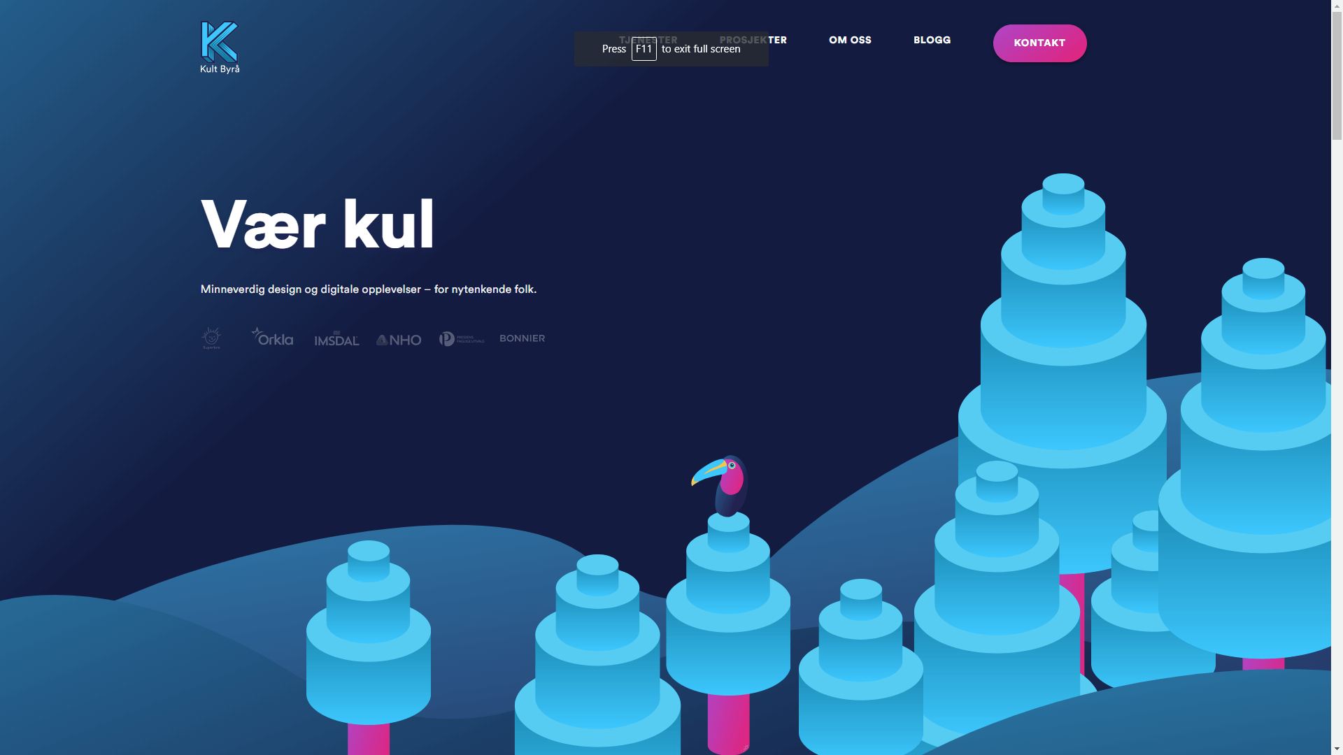 A website homepage with an interesting color scheme design.