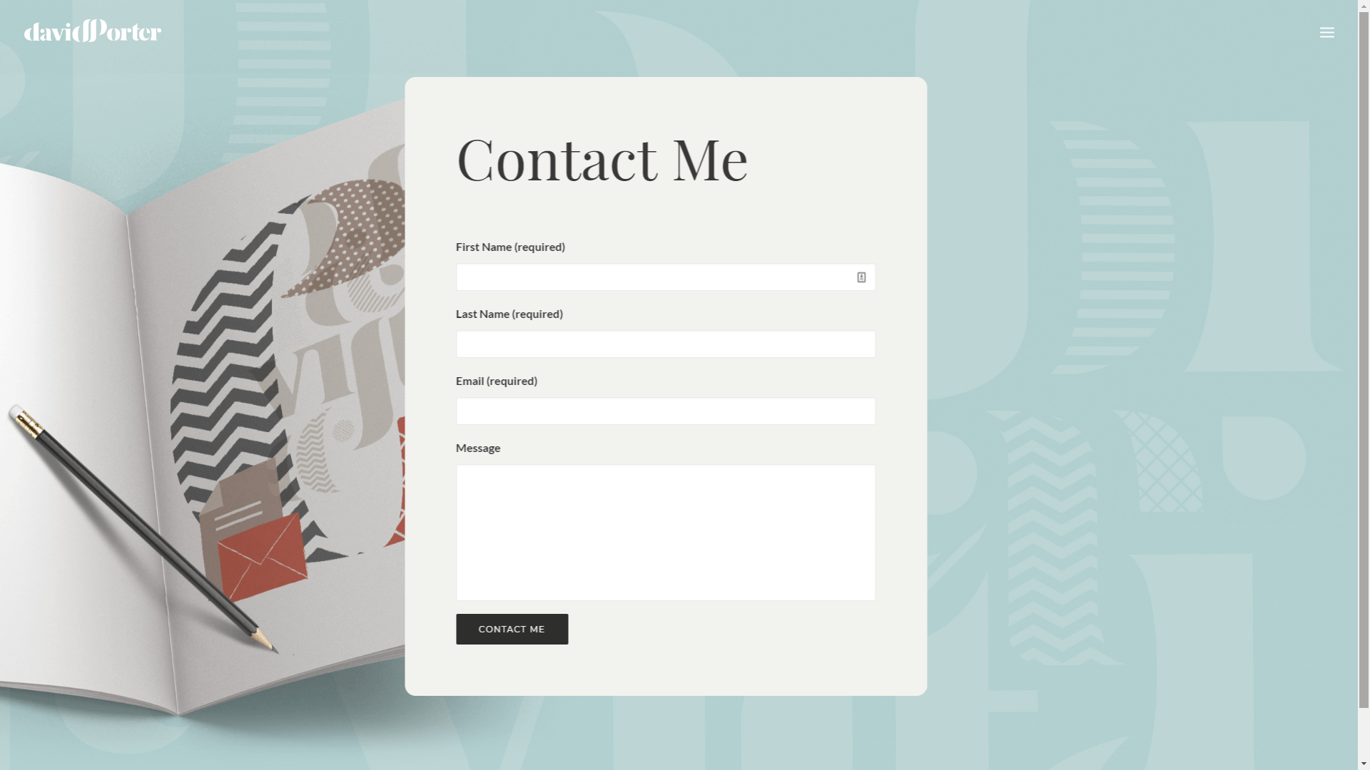A homepage contact form.