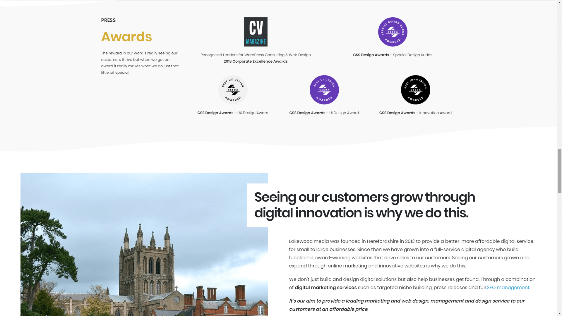 A website homepage featuring a social proof section.