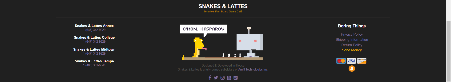 Snakes and Lattes displaying its various locations
