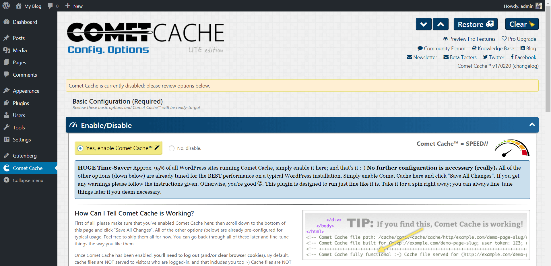 One Click Enable in Comet Cache