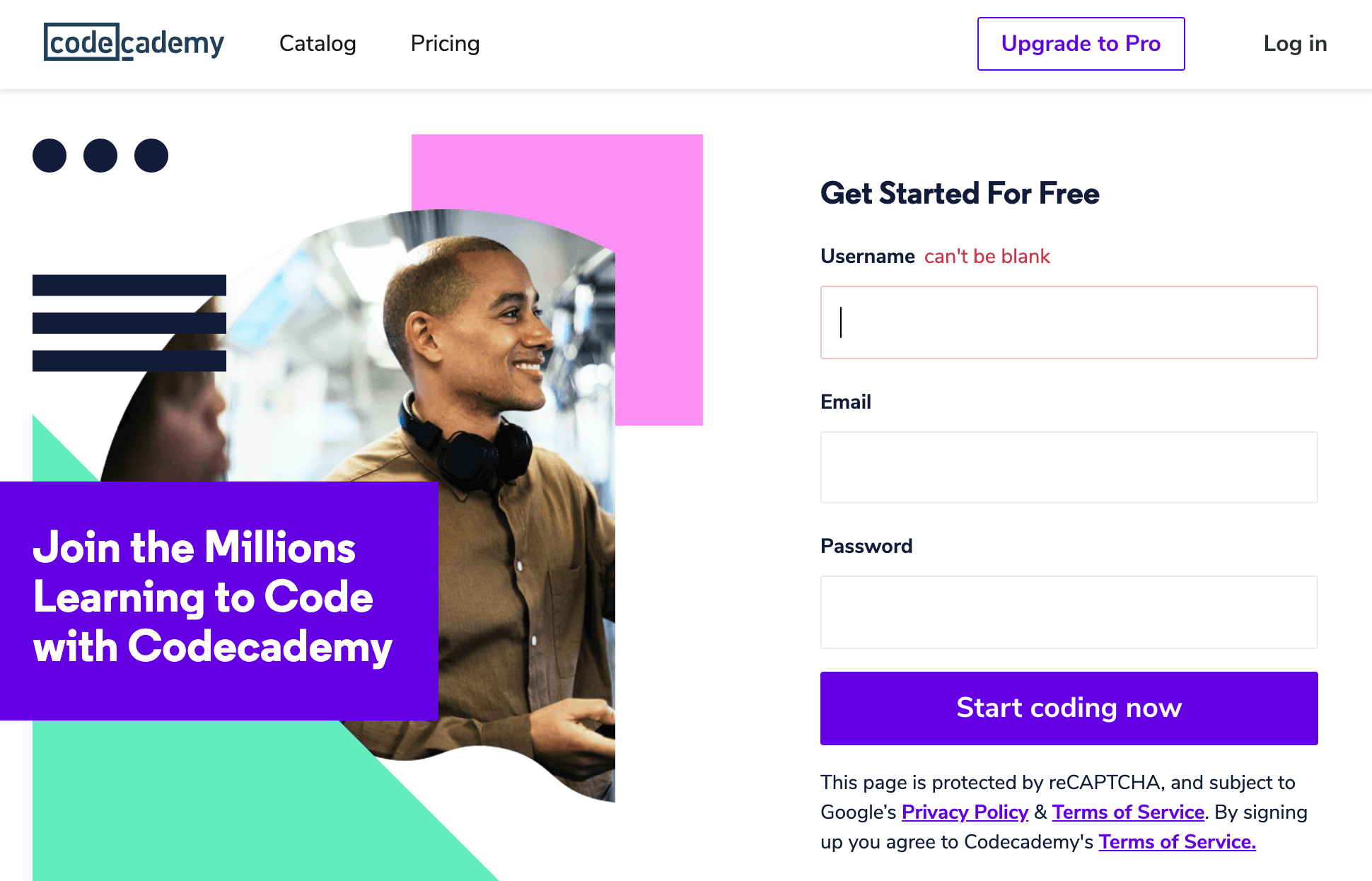 The Codecademy Homepage vs Treehouse vs Pluralsight