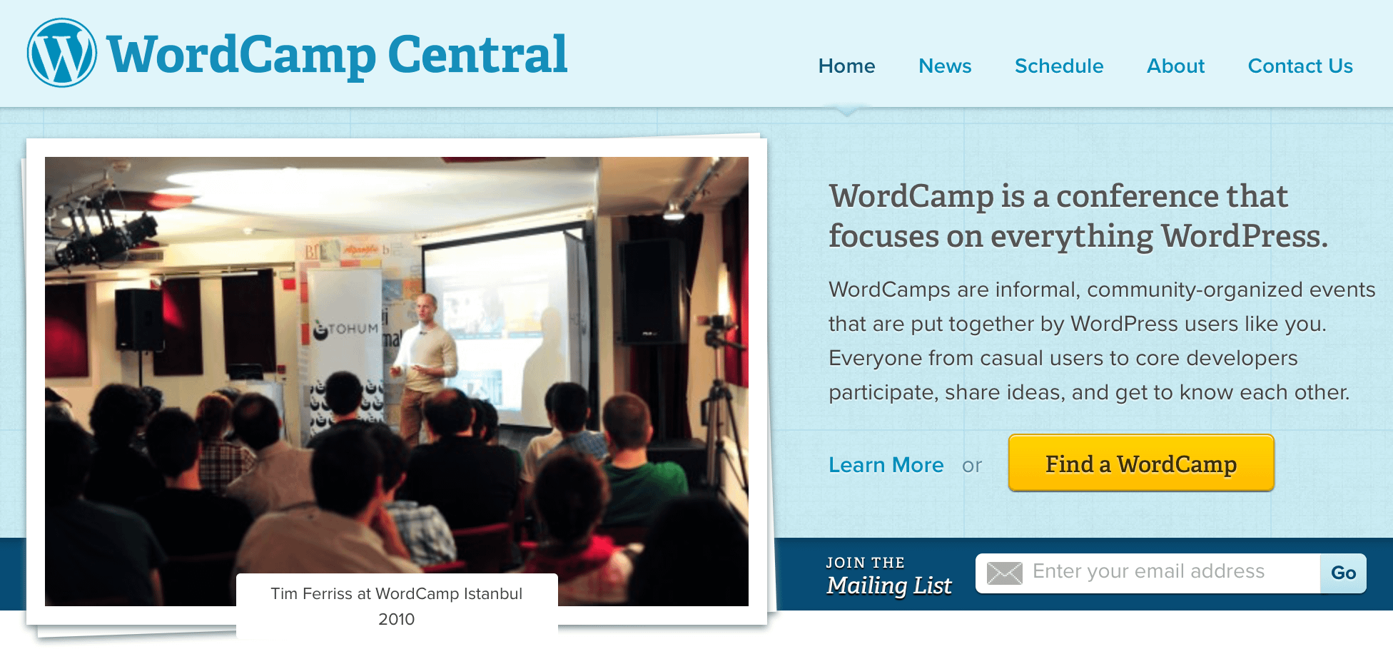 The WordCamp homepage.
