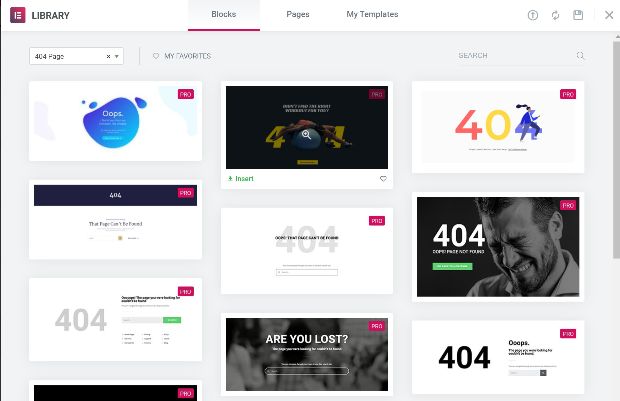 Elementor 404 page templates