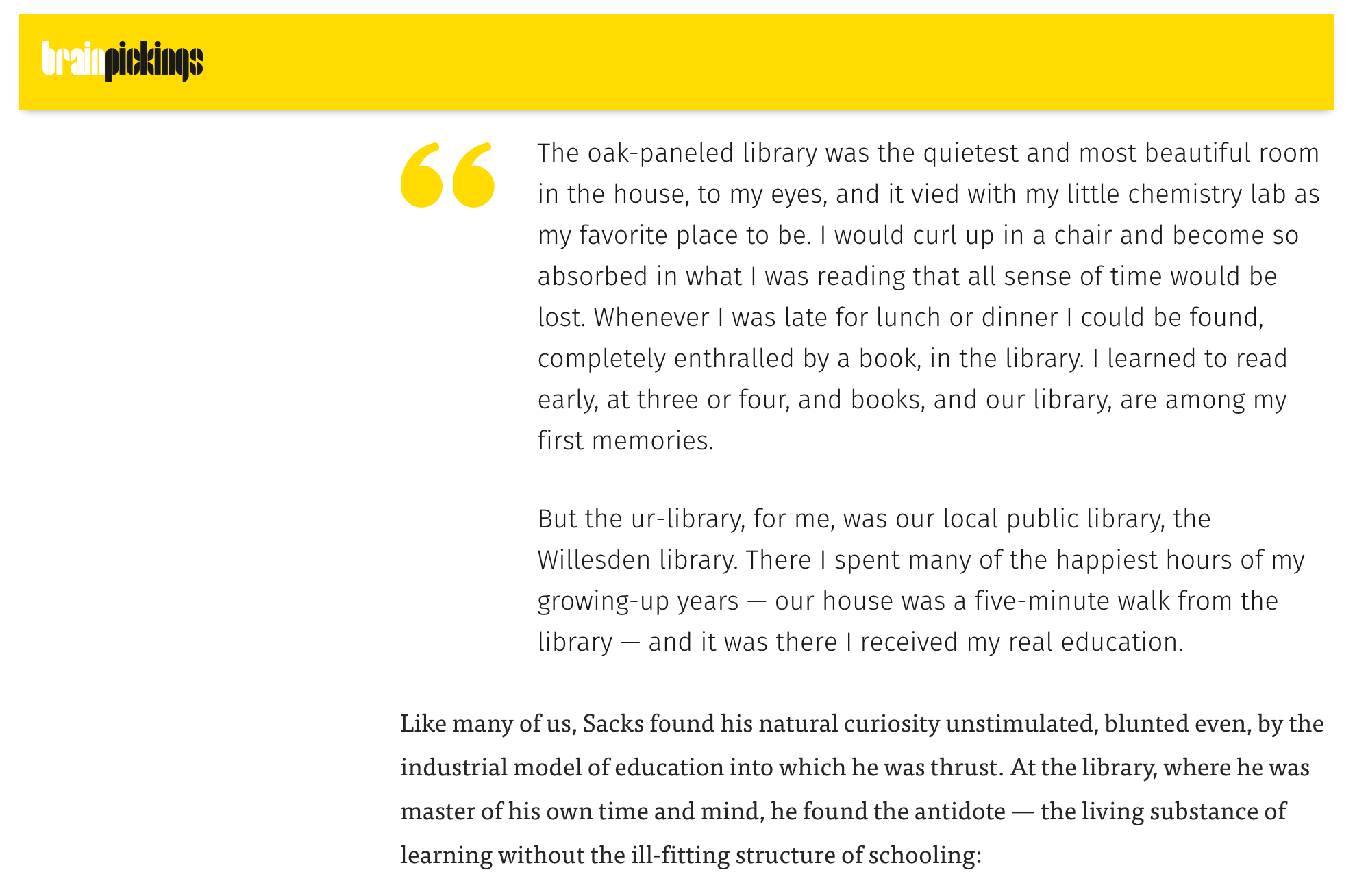 An example of excerpted and annotated content curation from the Brain Pickings site.