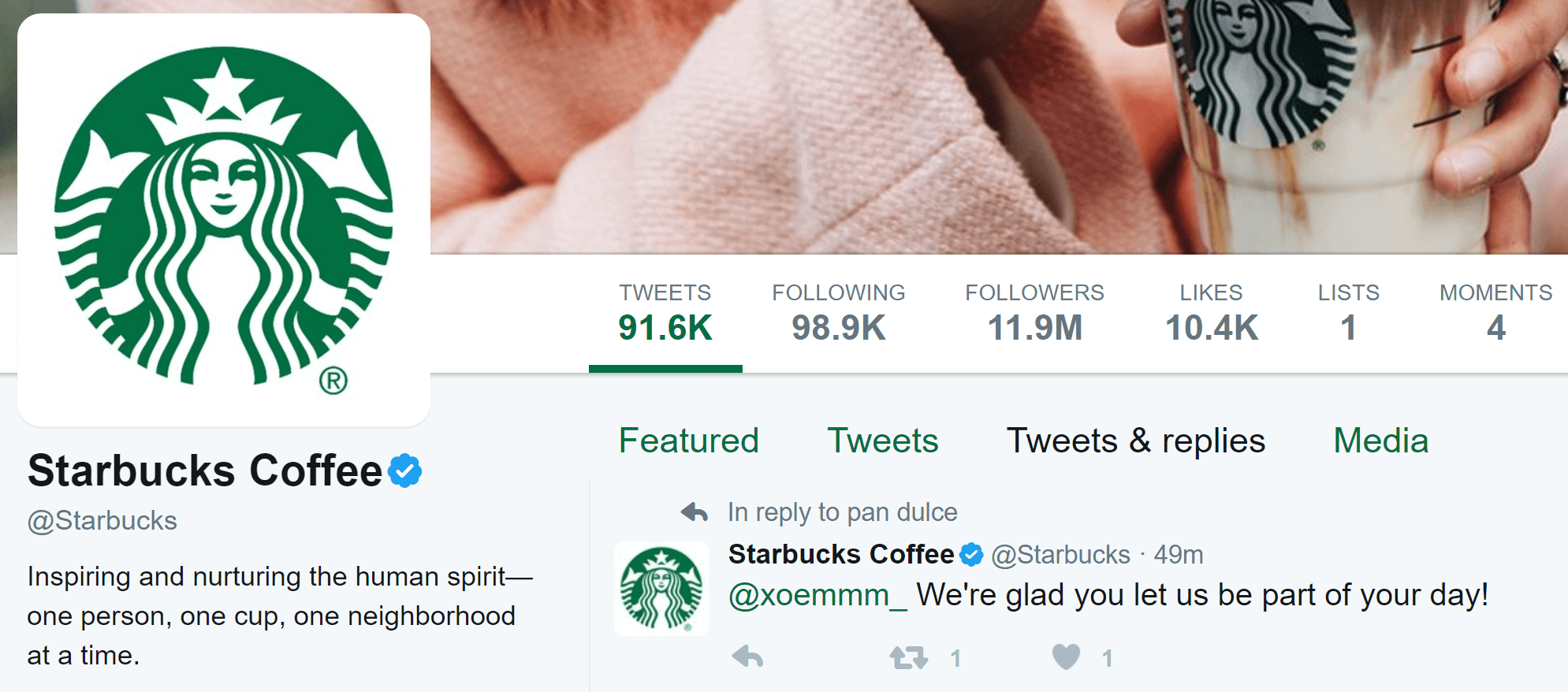 Starbuck's Twitter account.