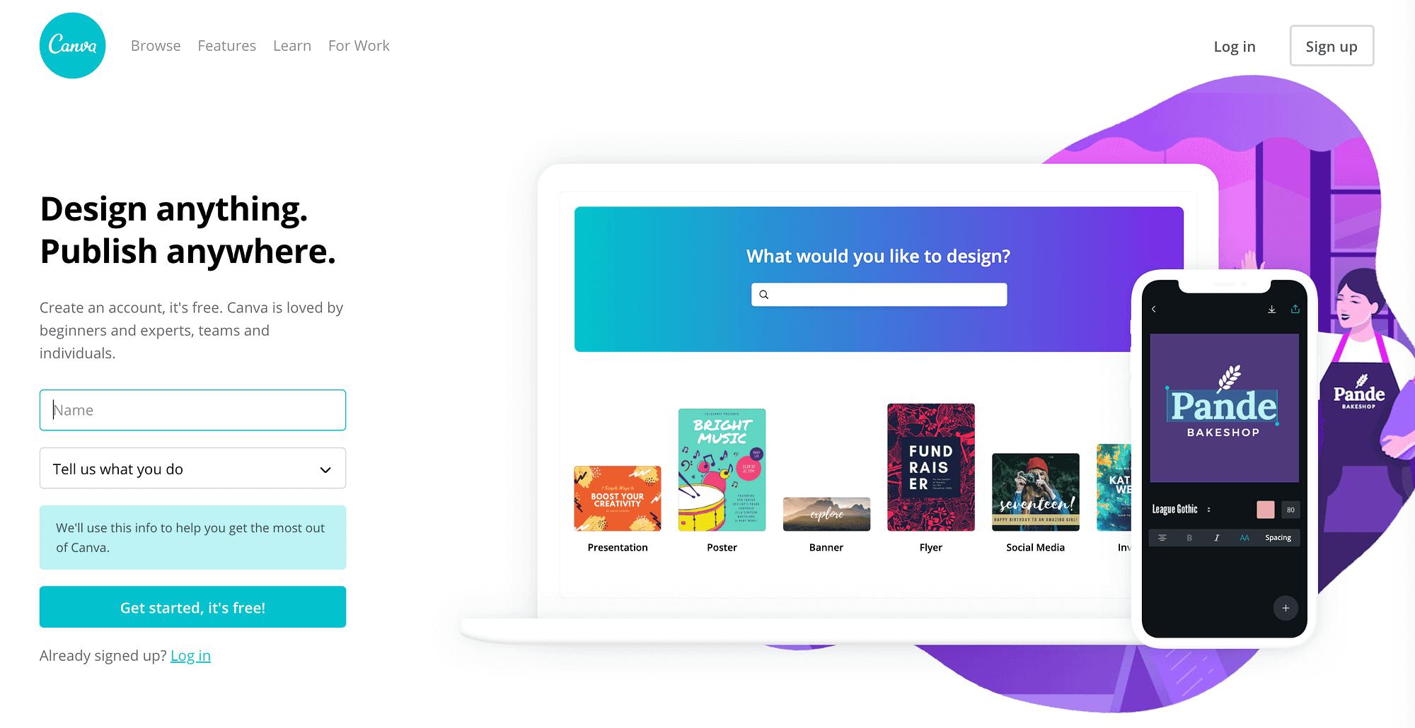 Canva's homepage.