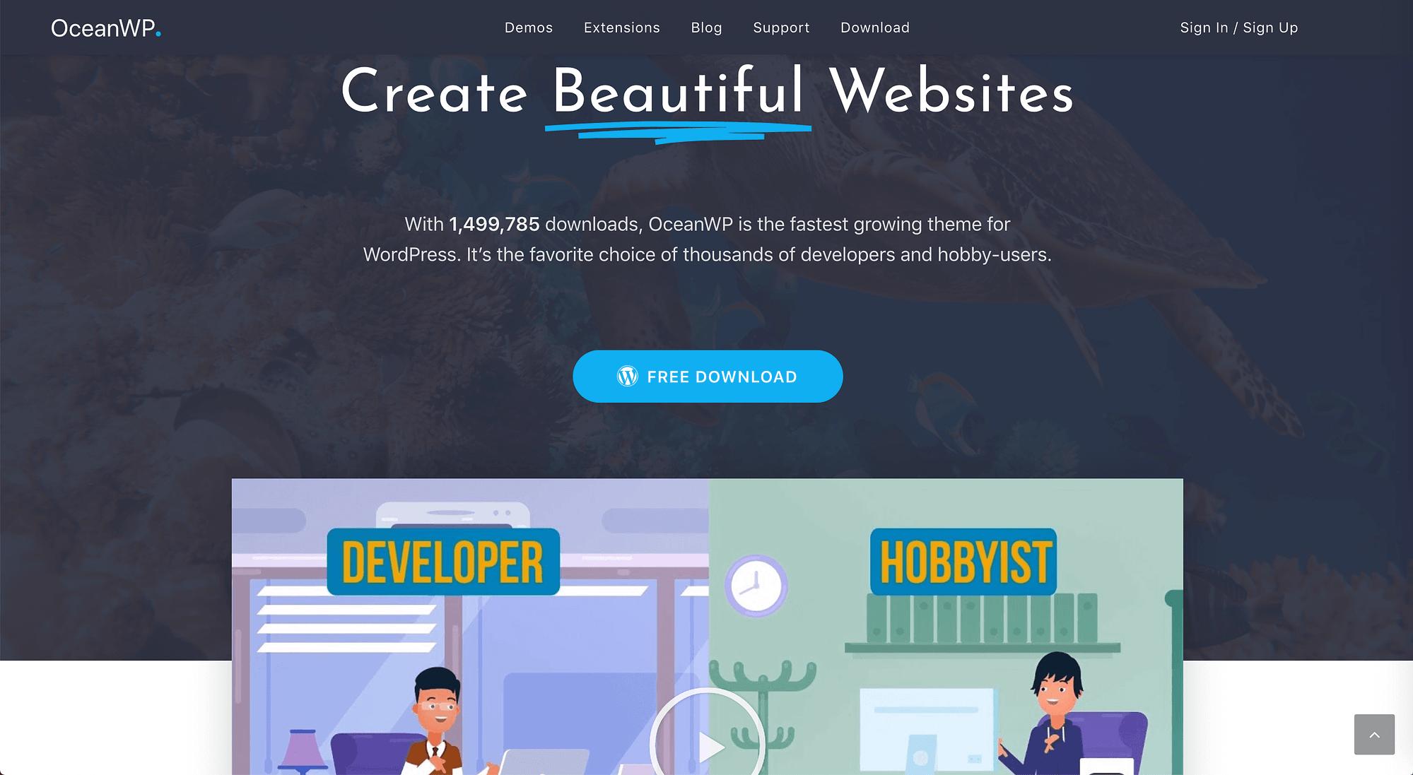 The OceanWP theme Homepage.