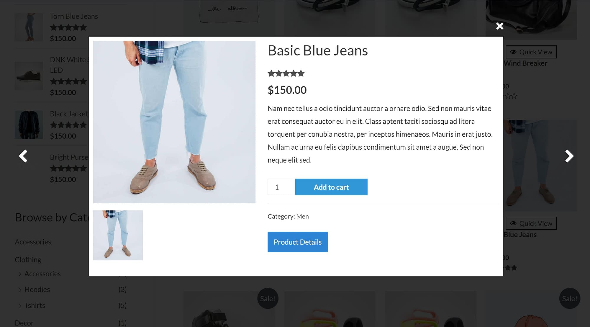 Quick View WooCommerce example