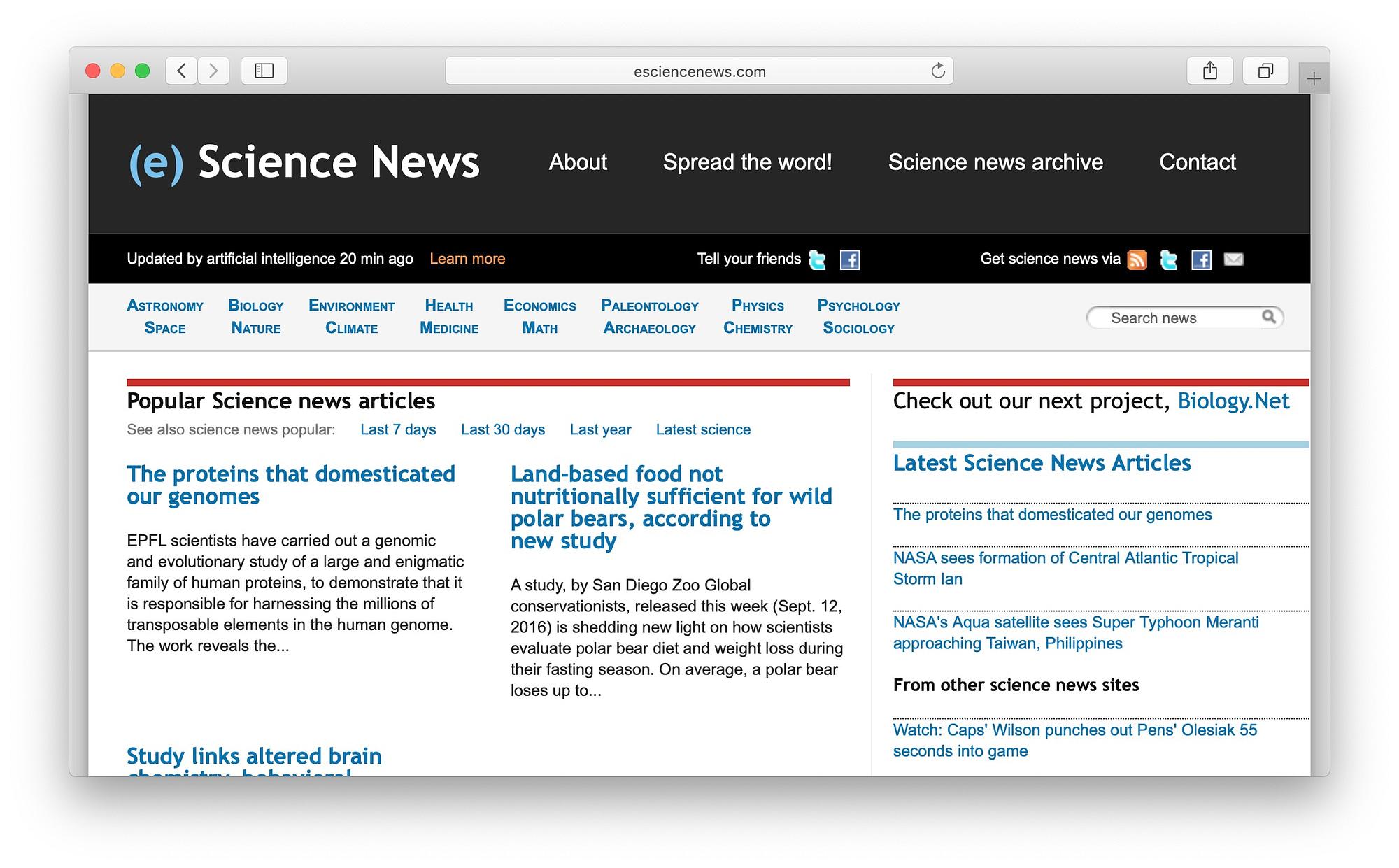 eScience News is a popular science news aggregator