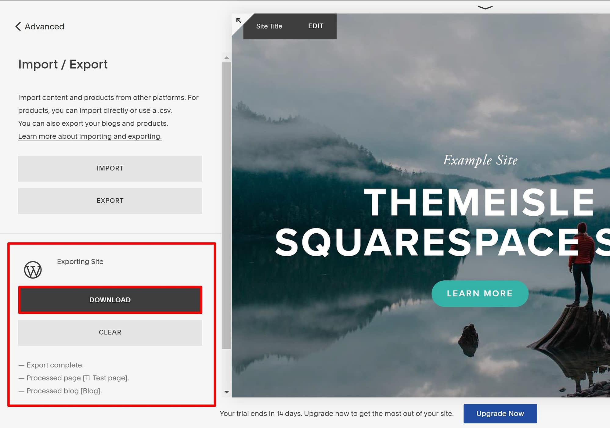 Download export file from Squarespace