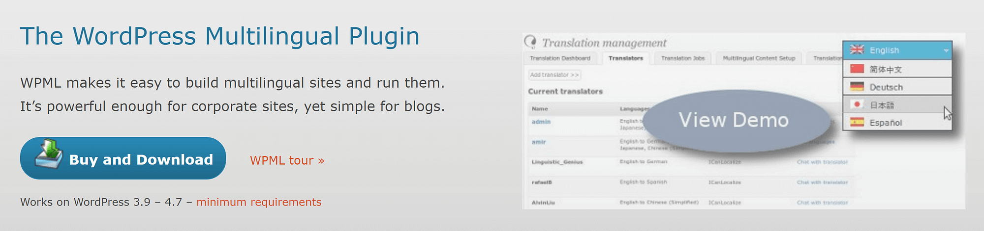 The WPML plugin - your way to create a multilingual WordPress website.