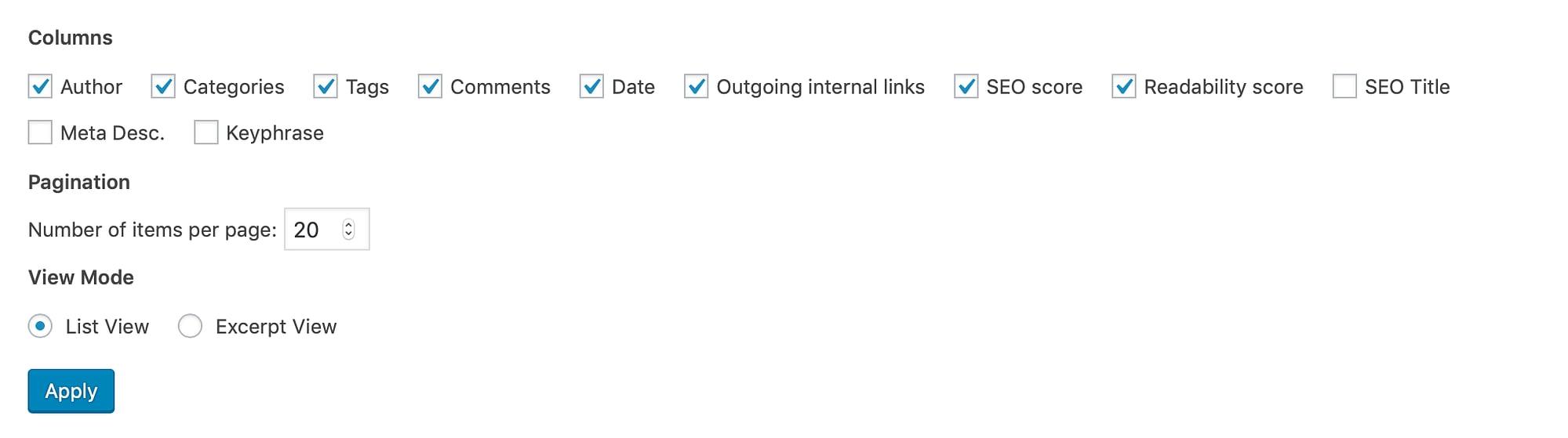 The 'Screen Options' dropdown menu in WordPress.