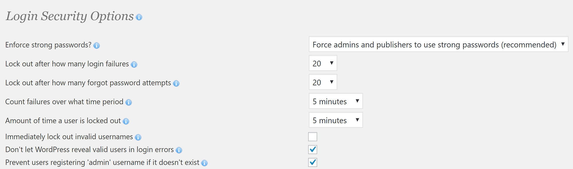 The Login security options.