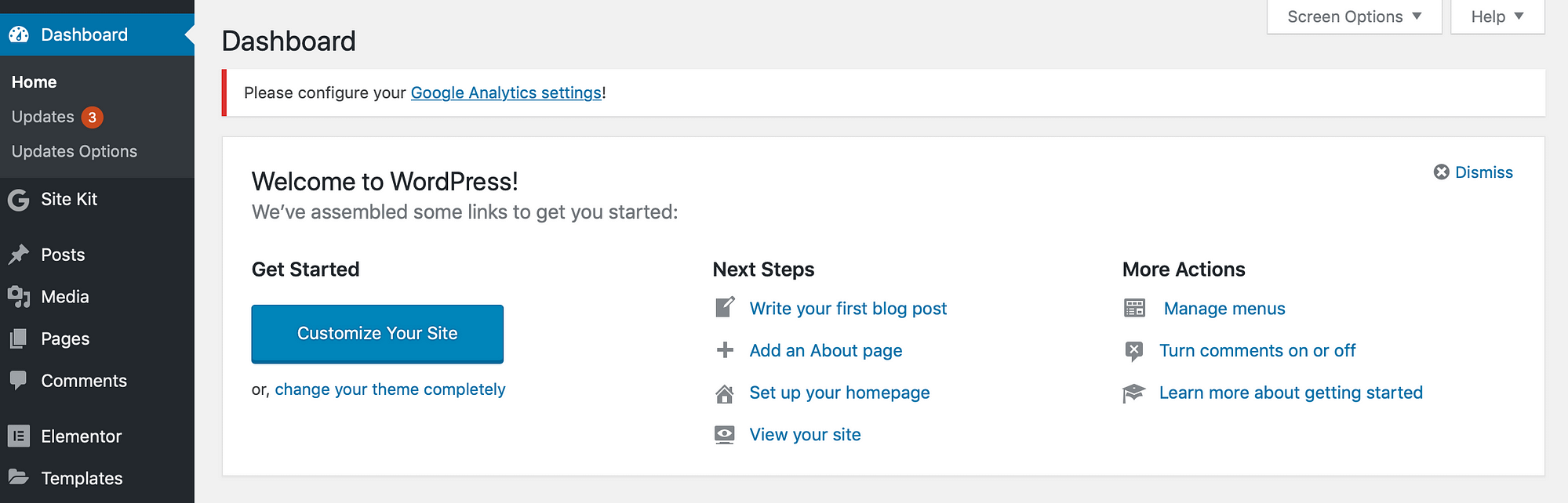 The WordPress backend.