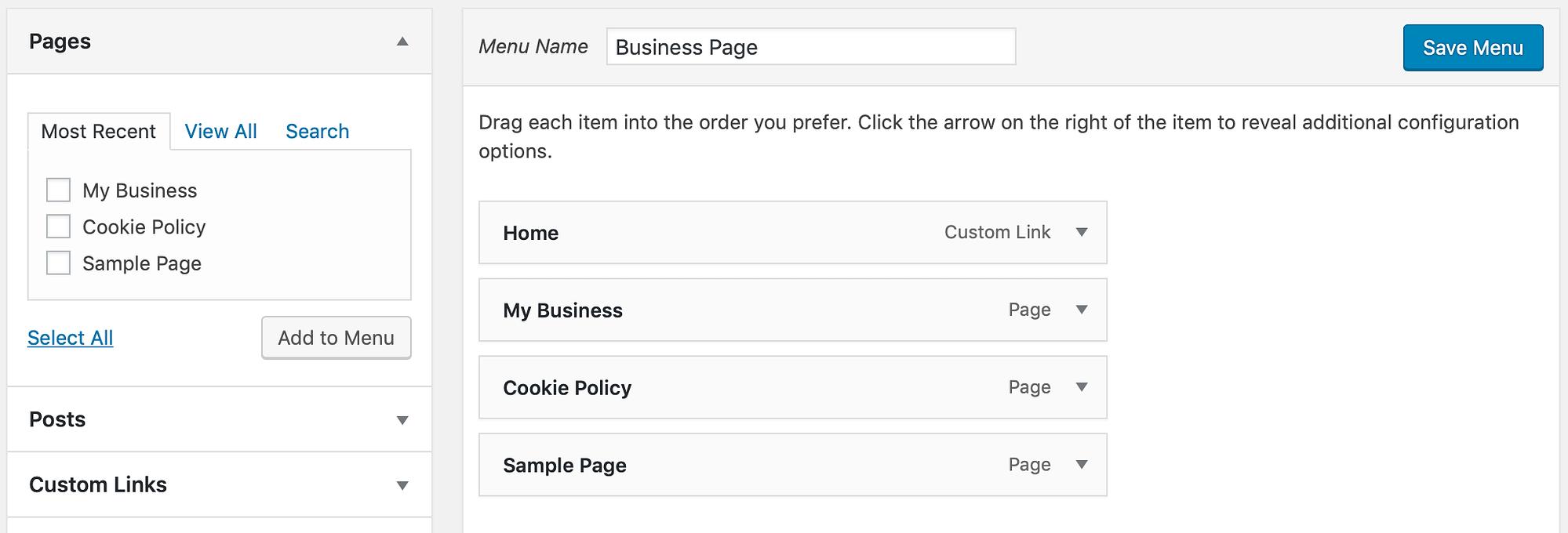 Some menu options in WordPress.